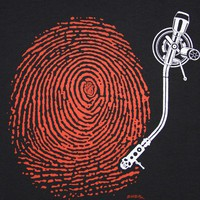 DJ Fingerprint Black T Shirt Art by EMEK all by SpencerButteInk