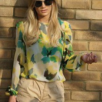 Yellow Print Slit Back Blouse | Never Fully Dressed | ASOS Marketplace