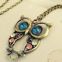 SODIAL- Vintage style colorful Owl charm necklace: Jewelry: Amazon.com