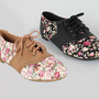 New Womens Brogued Lace Up Oxfords Vintage Flower Print Flats Cambridge-22F 7-10
