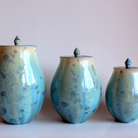 Aqua Canister Set by BrennaDeeCeramics on Etsy