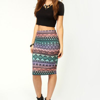 Josie Aztec Midi Tube Skirt