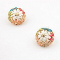 gold cute colorful flowers stud earrings at online cheap gold fashion jewelry store fashionjewelrytv.com