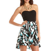 Geo Print Hi-Low 2-Fer Tube Dress: Charlotte Russe