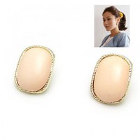 gold peach oval stud earrings at online cheap gold fashion jewelry store fashionjewelrytv.com