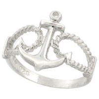 Amazon.com: Sterling Silver Anchor Ring 9/16 inch (14 mm) long, sizes 4.5 - 10.5: Jewelry