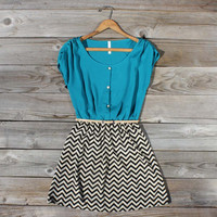 Sow & Seed Dress in Teal, Sweet Women's Bohemian Clothing