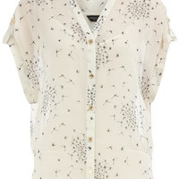 Ivory print tuck side blouse - Fashion Tops - Clothing - Dorothy Perkins