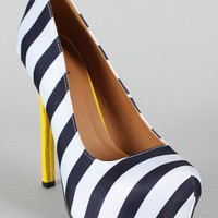 Qupid Miriam-94 Striped Print Almond Toe Pump