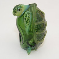 Glass Turtle Pipe - Green Sea Turtle
