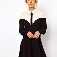 ASOS Shirt Dress With Colour Block Panels at asos.com