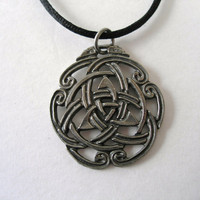 Pewter Triquetra Celtic Knot Necklace by BridgetFainne on Etsy