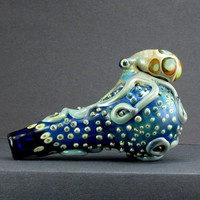 Glass Octopus Spoon Full Color Thick Wall Hand Blown with Barnacles