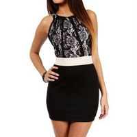 Black/Black Lace Color Block Dress