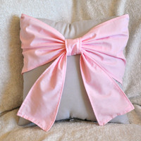 Throw Pillow - Decorative Pillow -  Light Pink Big Bow on Light Gray Pillow -READY TO SHIP-