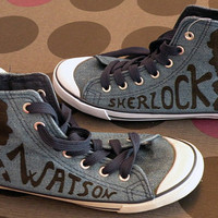 Johnlock shoes converse style by EsrodinguerSmile on Etsy