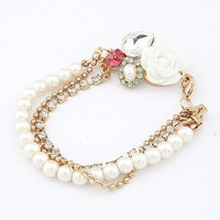 gold pearl crystal cute white rose lovely bracelet at online cheap gold fashion jewelry store fashionjewelrytv.com
