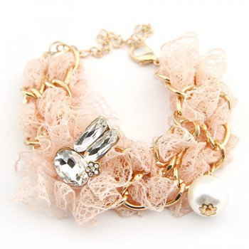 gold cute rabbit crystal peach cloth pearl bracelet at online cheap gold fashion jewelry store fashionjewelrytv.com