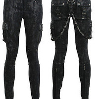 New Arrival Punk Rave Visual Kei Gothic Chain Black Pants Trousers S-XXL