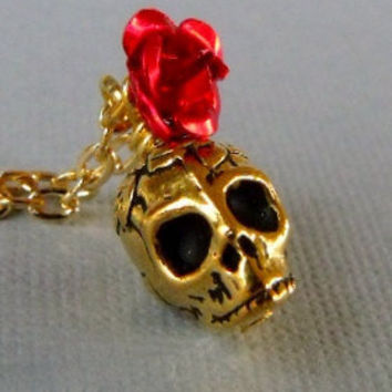 Gold Rose Skull Necklace by pinkingedgedesigns on Etsy
