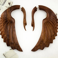 SALE  Fatima Swans  Wood Fake Gauges  Brown by TribalStyle on Etsy