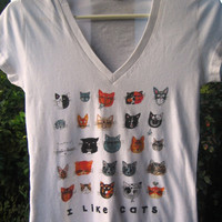 I Like Cats Womens V Neck Tshirt by LittleIslandCompany on Etsy