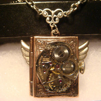 Steampunk Neo Victorian Bulova Watch Movement Photo Book LOCKET Necklace with Wings (935)