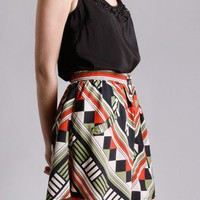 Opposition Graphic Skirt in Bottoms at Frock Candy