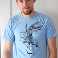Ghost Banjo - flying owl banjo folk tshirt - mens t-Shirt - by Bark Decor