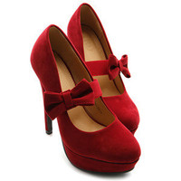 Womens Platform Faux Suede Pumps Ribbon Band High Heels RED US 10 ollio Shoes
