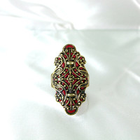 Gold ring red  long shaped old style jewelry handmade