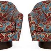 One Kings Lane - House of Honey - Milo Baughman Swivel Lounge Chairs, Pair