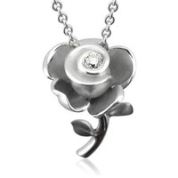 Sterling Silver Rose Flower Diamond Pendant Necklace (GH, SI3-I1, 0.12 carat)