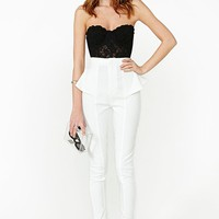 Peplum Skinny Pant - White