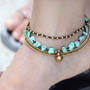 $9.00 Turquoise Brass Chain Anklet by XtraVirgin on Etsy