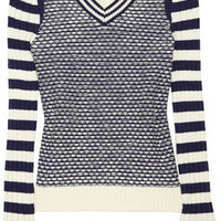 Tory Burch|Alarice contrast-striped cotton sweater|NET-A-PORTER.COM