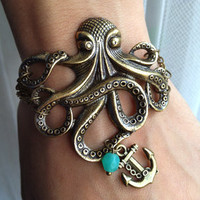 Octopus Bracelet with Anchor charm Bracelet  by pier7craft on Etsy