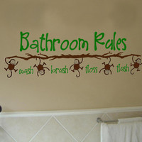 Bathroom Rules Monkey  Vinyl Wall Art Decal