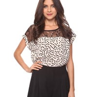 Lace Yoke Polka Dot Top | FOREVER21 - 2000034242