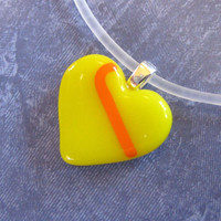 Small Heart Pendant, Glass Heart Necklace, Yellow Heart Jewelry, Valentines Day, Yellow Pendant Necklace - Little Tenderness - 4072 -3