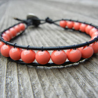 Beaded Leather Single Wrap Bracelet with Pink Coral Beads on Black Leather