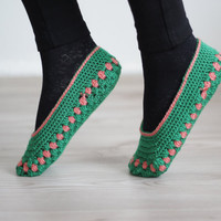 Women socks, Handmade Slippers, Turkish Knitted slippers, Authentic footwear, Stylish foot wear, green slippers