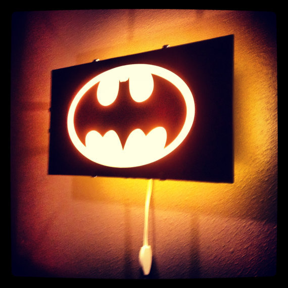 Superhero Neon Wall Lights : Batman, Bat Signal light, Gotham City, from Otrengraving on Etsy