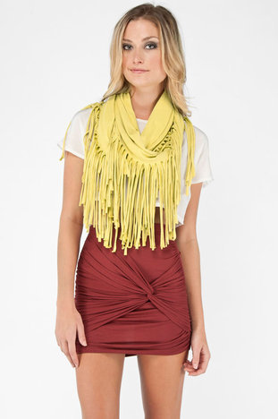 Fringe Eternity Scarf in Maize :: tobi