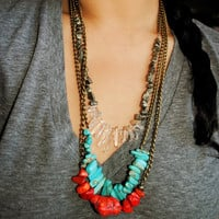 Coral and Bronze Necklace  Limited Edition by theblackfeather