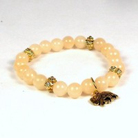 Stack Bracelet Peach Gemstone Beads with Goldtone Elephant Charm