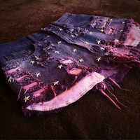 Made to Order  Star Studded Pink/Purple Ombre Denim by DaiisyDukes