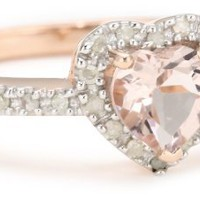 Rose Gold Plated Sterling Silver Morganite and Diamond Heart Ring, (.1 Cttw, G-H Color, I2-I3 Clari
