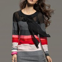 Multi Day Dress - Striped Knit Long Sleeve Pussybow | UsTrendy