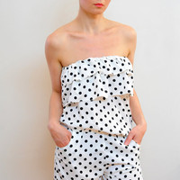 White with Black Polka dot Playsuit Jump Suits by esoneofone